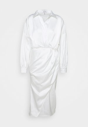 PLUNGE MIDI SHIRT DRESS  - Cocktail dress / Party dress - white