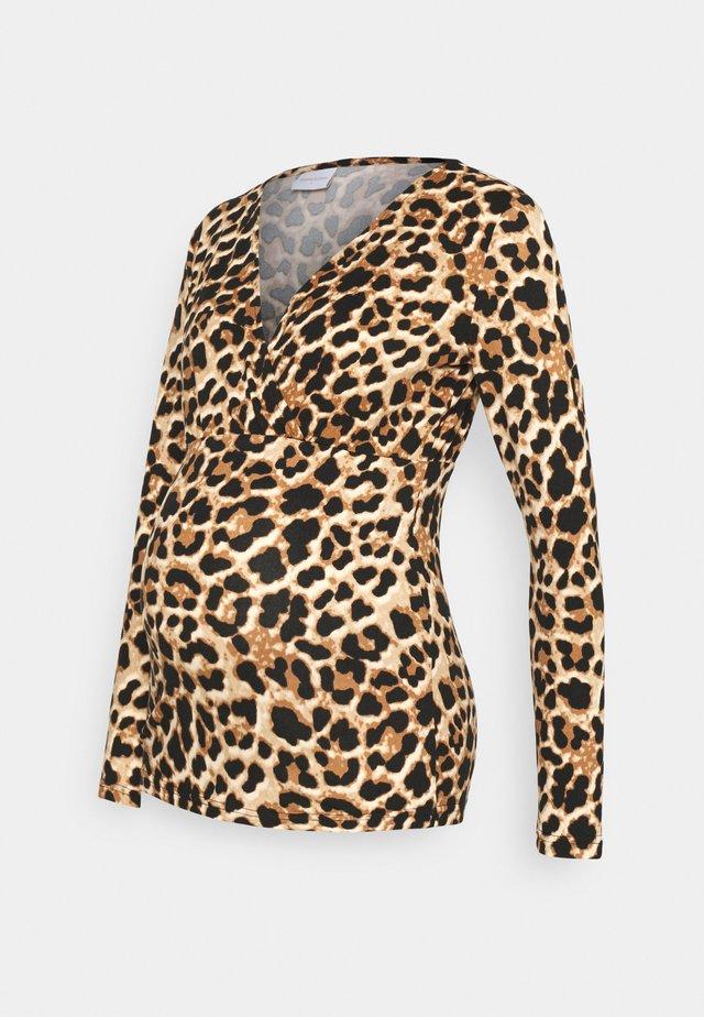 NURSING - Pitkähihainen paita - black/brown leo