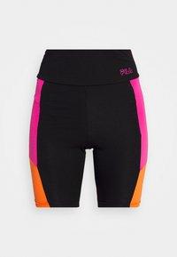 PERI HIGH WAIST SHORT LEGGINGS - Leggings - black/beetroot purple/mandarin orange