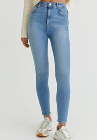 PULL&BEAR - WITH VERY HIGH WAIST - Jeans Skinny Fit - mottled light blue - 0
