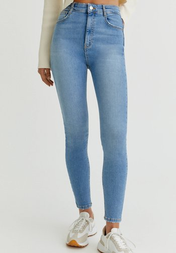 WITH VERY HIGH WAIST - Jeans Skinny Fit - mottled light blue