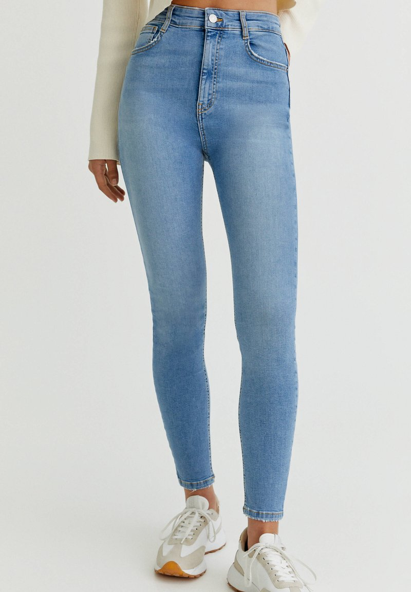 PULL&BEAR - WITH VERY HIGH WAIST - Jeans Skinny Fit - mottled light blue