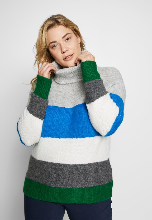 COLORBLOCK TURTLENECK  - Pullover - peacock