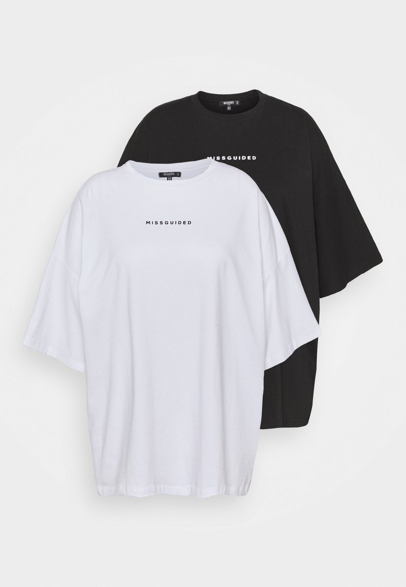 Missguided Plus - 2 PACK BRANDED - Print T-shirt - black