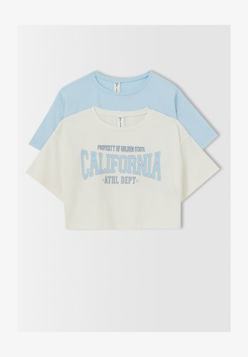 CROPPED FIT - Print T-shirt - blue