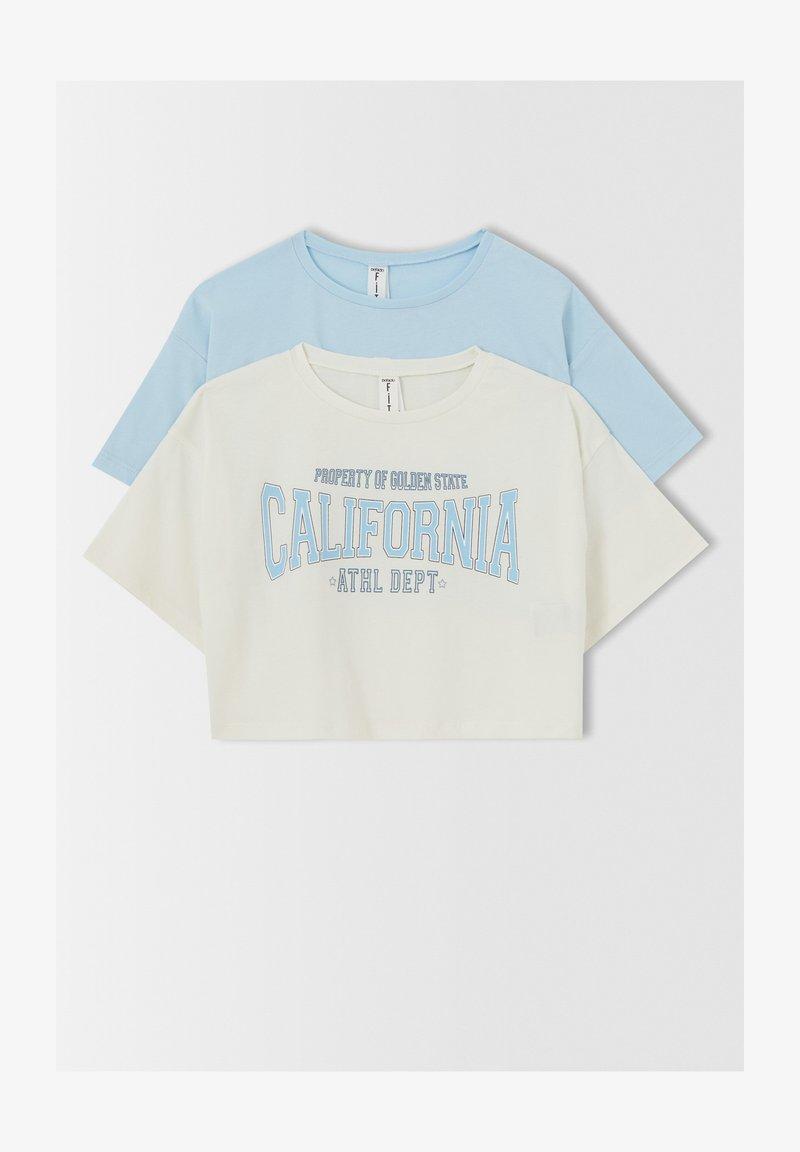 DeFacto - CROPPED FIT - Print T-shirt - blue