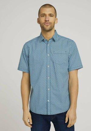 Shirt - teal blue tonal minimal design