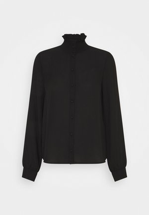 VMZIGGA HIGH NECK SMOCK - Button-down blouse - black