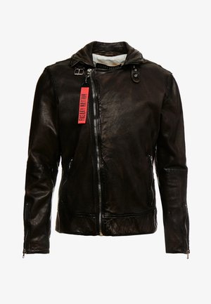 BENBLUE - Leather jacket - multiple brown