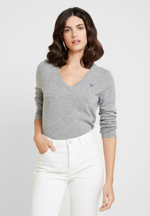 EXTRAFINE VNECK - Jumper - grey melange