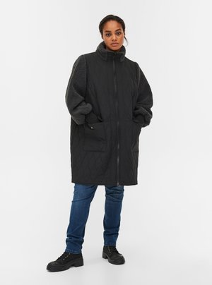 QUILTED TEDDY  WITH POCKETS - Down coat - black comb