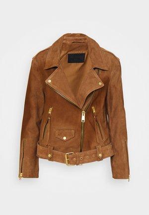 LUNA BIKER - Leather jacket - tan brown