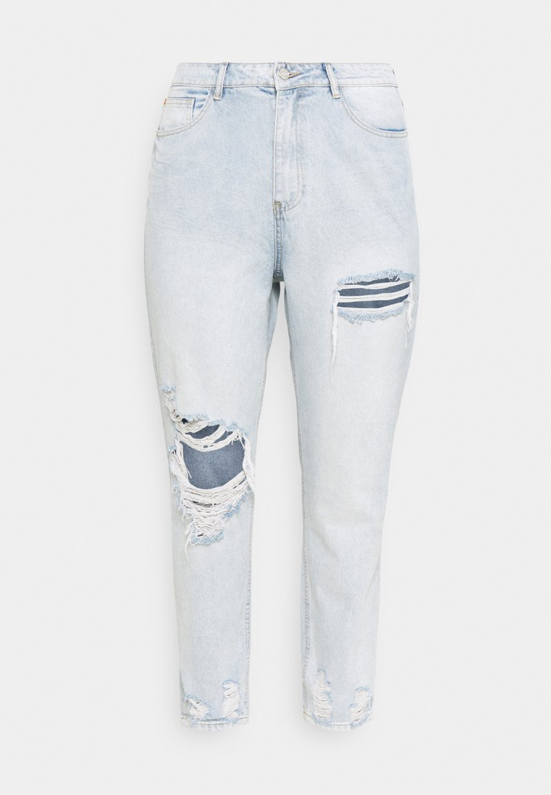 Missguided Plus - RIOT THIGH SLASH MOM LIGHTWASH - Relaxed fit jeans - blue