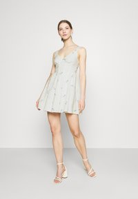 Missguided - FLORAL BRODERIE CORSET SKATER DRESS - Day dress - white - 1