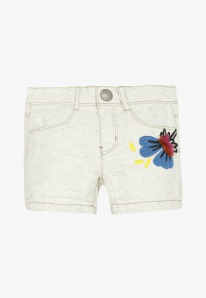 3D EMBROIDERY - Denim shorts - white
