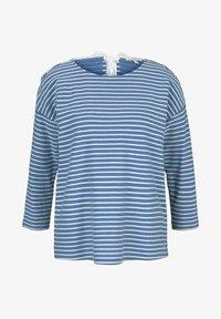 mid blue melange white stripe