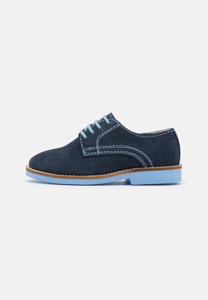 LEATHER - Casual lace-ups - dark blue