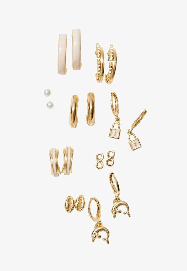 9-PACK - Náušnice - gold-coloured