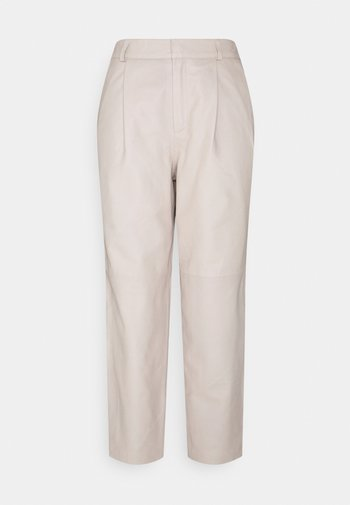 OBJMIA ANKLE PANT - Leather trousers - humus
