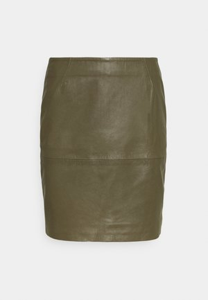 IHDARINA - Leather skirt - beech