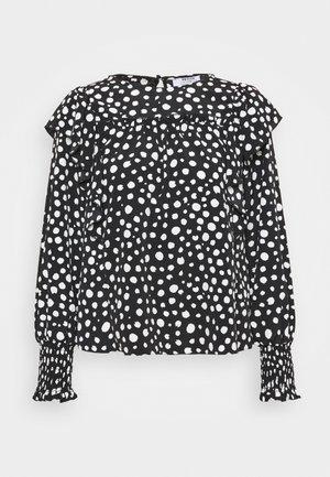 SPOT SHIRRED CUFF RUFFLE TOP - Blouse - black