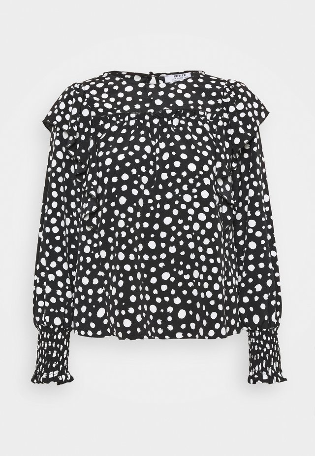SPOT SHIRRED CUFF RUFFLE TOP - Camicetta - black