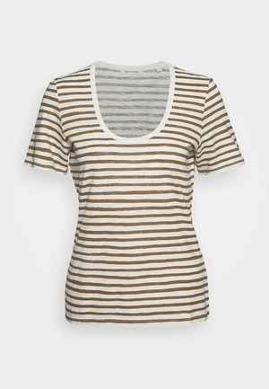 SHORT SLEEVE ROUND NECK STRIPED - T-shirt z nadrukiem - multi/deep tobacco