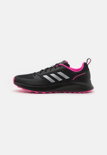 RUNFALCON 2.0 TR - Løbesko trail - core black/silver metallic/screaming pink
