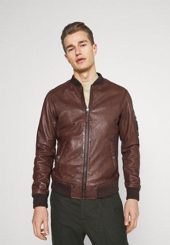 UNITED - Leather jacket - tobacco