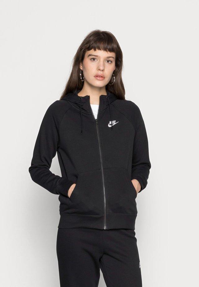 HOODIE - Zip-up hoodie - black/white