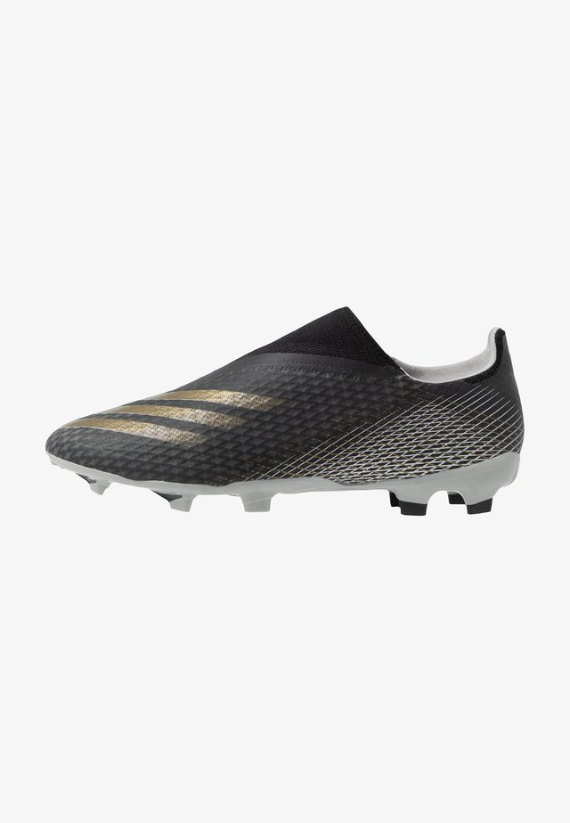 X GHOSTED.3 FOOTBALL BOOTS FIRM GROUND - Moulded stud football boots - core black/metallic gold/grey two