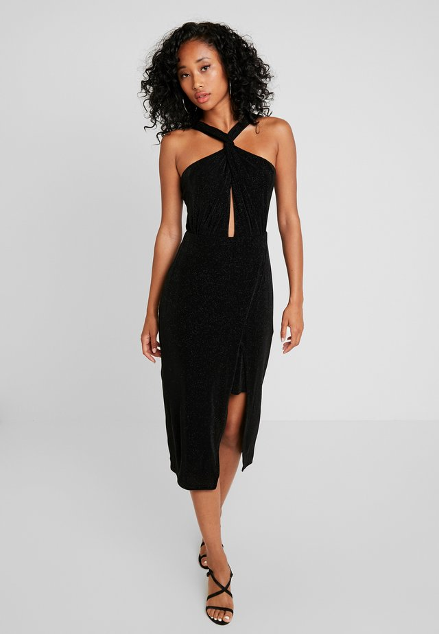 DAKOTA WRAP HALTER DRESS - Cocktailjurk - black metallic