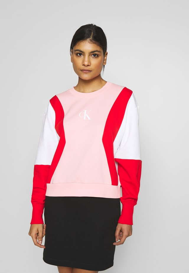 COLOR BLOCK CREW NECK - Collegepaita - keepsake pink/white /red