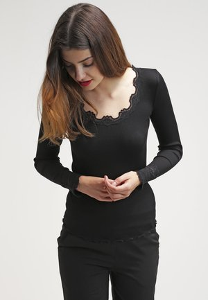 SILK-MIX T-SHIRT REGULAR LS W/WIDE LACE - Long sleeved top - schwarz