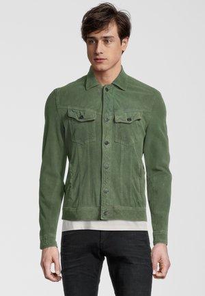 Leather jacket - leaf green
