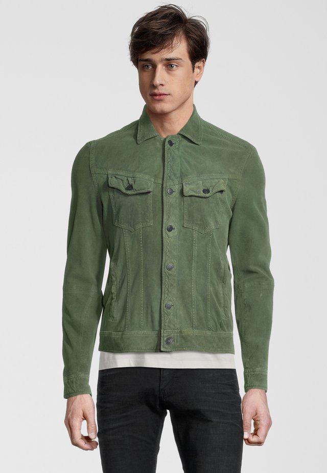 Leren jas - leaf green