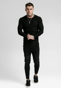SIKSILK - LONG SLEEVE BRUSHED GYM TEE - Langarmshirt - black - 0