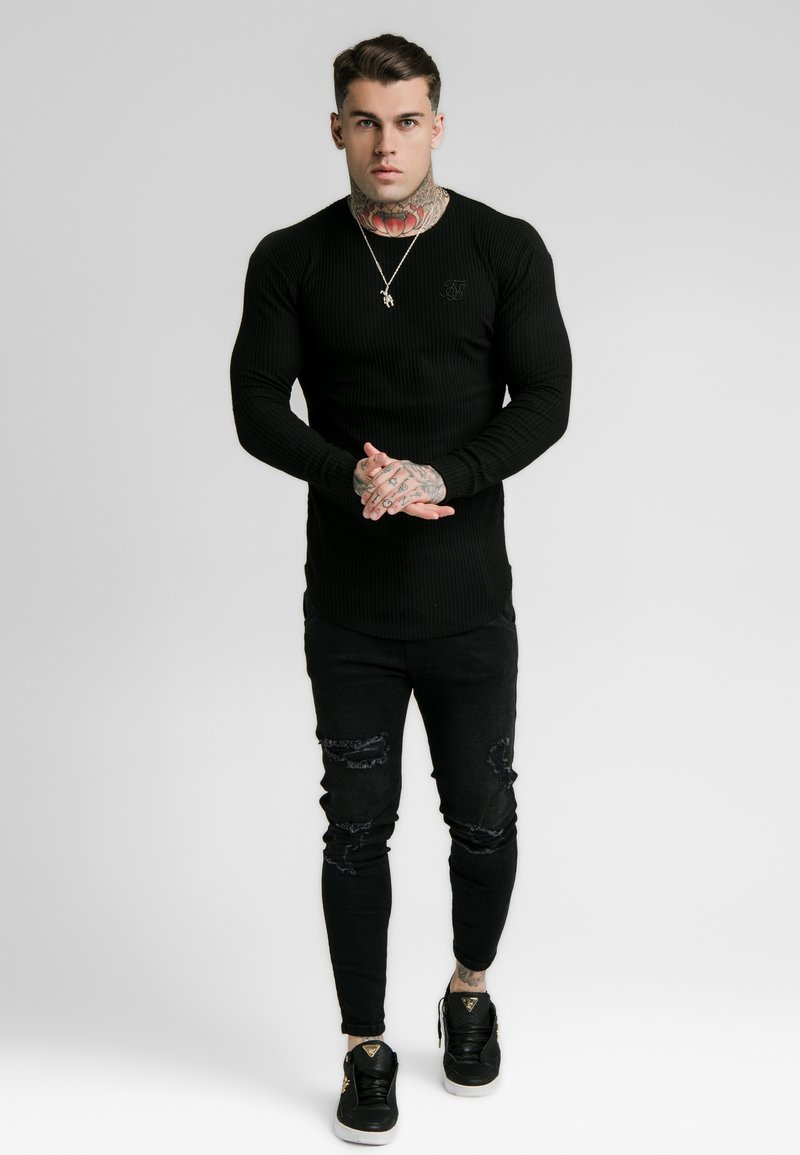 SIKSILK - LONG SLEEVE BRUSHED GYM TEE - Maglietta a manica lunga - black
