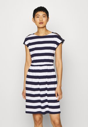 Jersey dress - evening blue/white