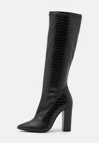 SLIP IN STRETCHY BOOT - Kozačky na vysokém podpatku - black