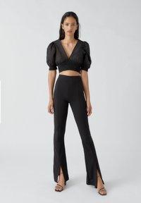 PULL&BEAR - Pantalon classique - mottled black - 1