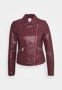 Springfield - BIKER - Faux leather jacket - red - 0