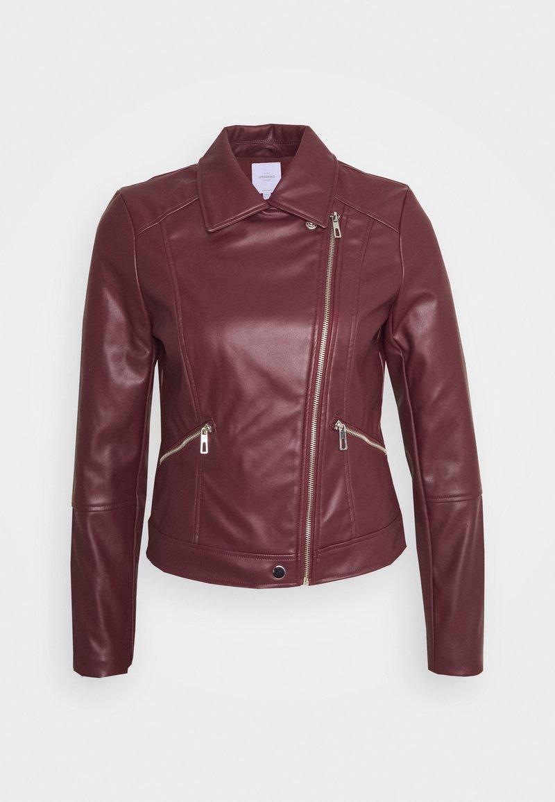 Springfield - BIKER - Faux leather jacket - red