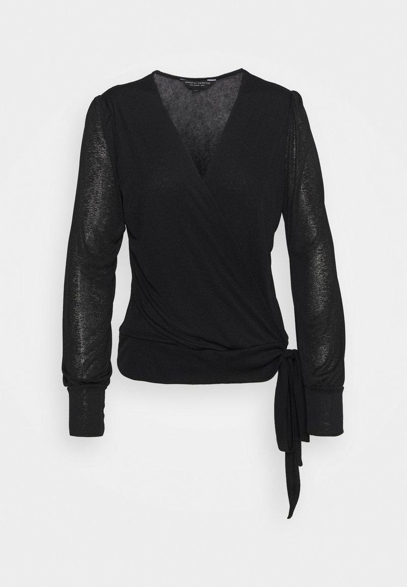 Dorothy Perkins - LONG SLEEVE WRAP  - T-shirt à manches longues - black