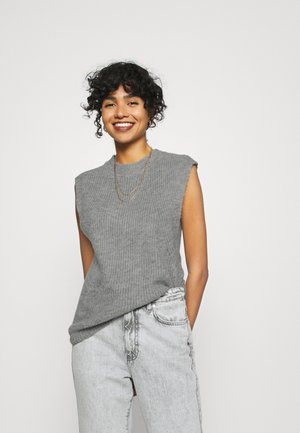 YASALLY  WAISTCOAT  - T-shirt med print - medium grey melange