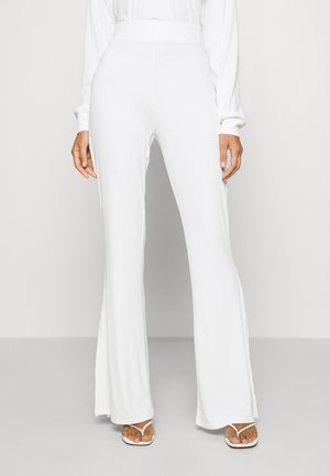 SLIT DETAIL PANTS - Trousers - white