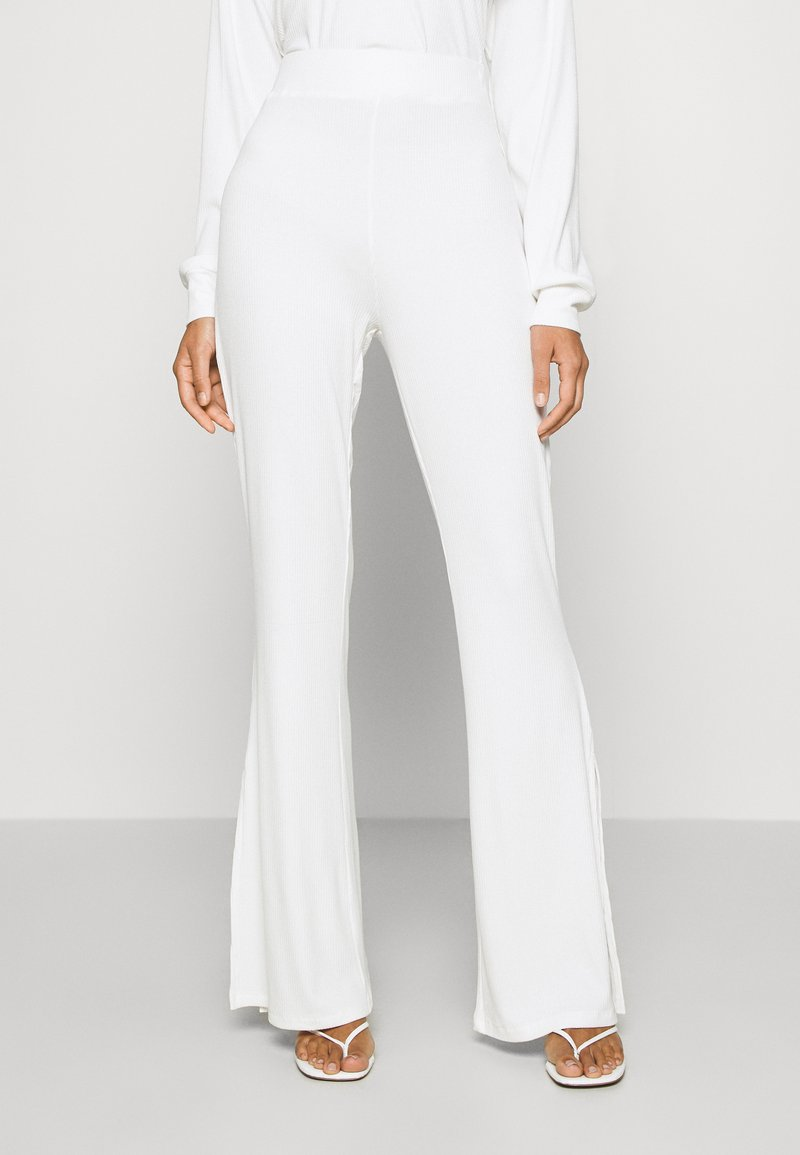 KENDALL + KYLIE - SLIT DETAIL PANTS - Trousers - white