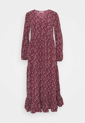 V NECK OVERSIZED MAXI DRESS - Maxikjoler - maroon ditsy