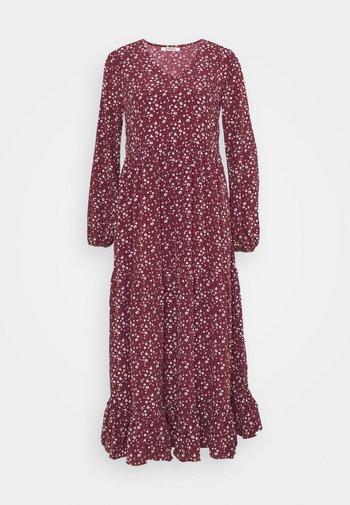 V NECK OVERSIZED MAXI DRESS - Vestido largo - maroon ditsy