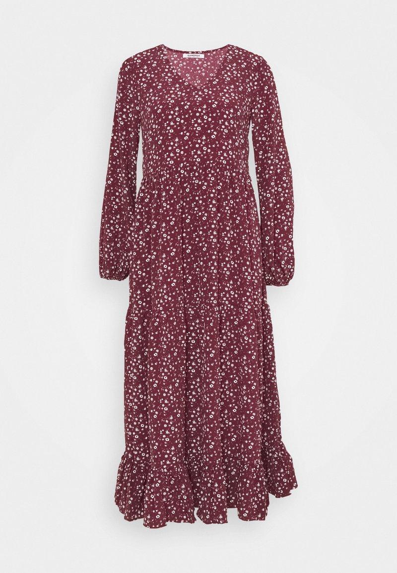 Glamorous - V NECK OVERSIZED MAXI DRESS - Maxi dress - maroon ditsy